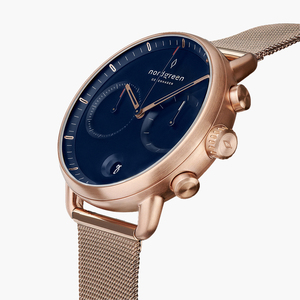 Chronograph Pioneer Roségold | Blaues Ziffernblatt - Mesharmband - Nordgreen Copenhagen