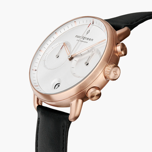 Chronograph Pioneer Roségold   Weißes Ziffernblatt - Lederarmband - Nordgreen Copenhagen