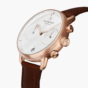 Chronograph Pioneer Roségold | Weißes Ziffernblatt - Lederarmband - Nordgreen Copenhagen