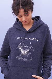 There is no Planet B Hoodie I Nachhaltige Print Damen Kapuzenpullover aus Bio-Baumwolle I recycelt IWoman of Vegan I Blau - Woman of Vegan