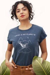 There is no Planet B - Nachhaltige Print Damen T-shirt aus Bio-Baumwolle I Woman of Vegan I Blau - Woman of Vegan