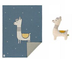 Geschenk Set zur Geburt: Lässig Babydecke Glama Lama und Kuscheltier mit Rassel in blue oder coral - Lässig