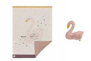 Geschenk Set zur Geburt: Lässig Baydecke Little Whale oder Little Swan und Kuscheltier mit Rassel   - Lässig
