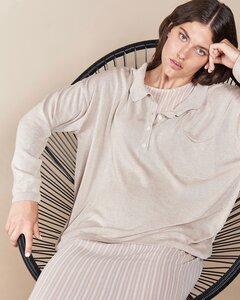 Oversized Pullover CORO beige (sand) mit Polokragen - JAN N JUNE