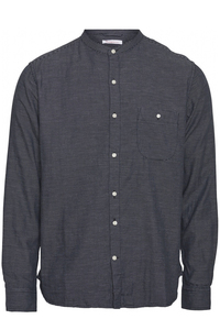 Larch LS striped double layer stand collar shirt - Knowledge Cotton Apparel