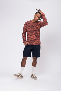 Knit Crew Neck #FLECKED blau / orange - recolution