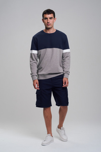 Sweatshirt #BLOCK blau / grau - recolution