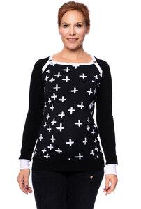 KENNDY BIO Umstands-& Stillshirt Cross Mono (schwarz) - Milchshake