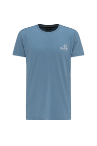 Basic T-Shirt #LET`S GO CAMPING blau - recolution