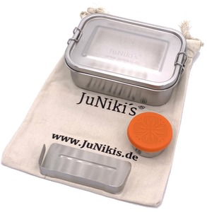 Set: JuNiki´s® eco line Edelstahl Lunchbox Brotdose + Trenner + Dipper - JN JuNiki's