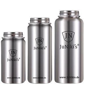 3er Set drei Größen JuNiki´s® eco line Edelstahl Trinkflaschen isoliert - JN JuNiki's