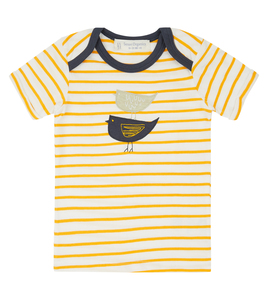 Baby T-Shirt gelb geringelt mit Vögeln - Sense Organics & friends in cooperation with GARY MASH