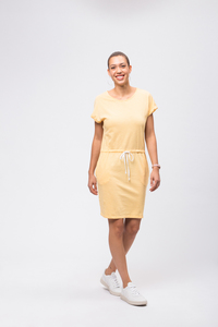 Casual Turn-Up Jerseykleid gelb - recolution