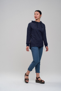 Longfitted Hoodie #STRIPES dunkelblau - recolution