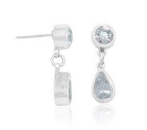 Ohrringe Silber weißer Zirkonia Tropfen funkelnd handmade Fair-Trade - pakilia