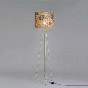 Stehleuchte Tripod Perlbohne N°16 aus Stahl und Kaffeesack - lumbono