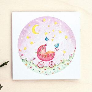 Grußkarte // Kinderwagen rosa - anabellstellmacher