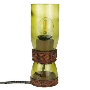 Upcycling Tischlampe - Weinflasche - Double - Grün - Chako Zanzibar