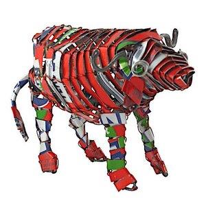 Büffel Blechtier - M - Upcycling Township Art Africa - Little Zim