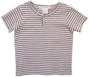 Geringelter T-Shirt mit kleinem Druckknopf. - Serendipity