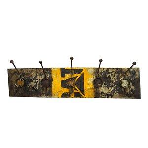 Upcycling Ölfass Garderobe - 5fach - Gelb & Schwarz - 90cm - Moogoo Creative Africa