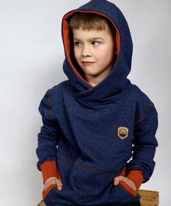 Kapuzenpulli Kuschelsweat Blau-Rost - Omilich