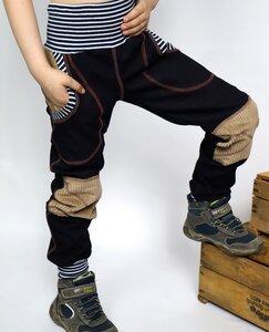 Kinder-/Baby-Mitwachs-Jeans mit Taschen und Cordflicken - Omilich
