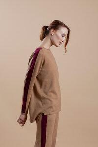 Oversized Pullover mit Kontraststreifen | 100% extrafeine Merinowolle  - t7berlin