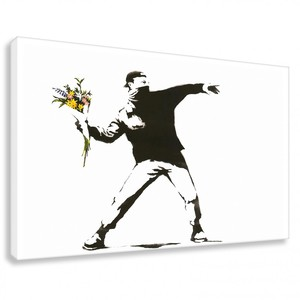 Banksy Bild Flower Riot Wandbilder Wohnzimmer - Kunstbruder
