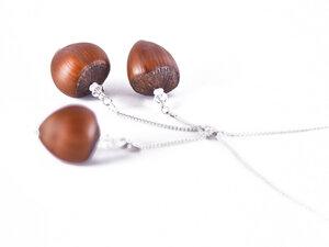 Holzschmuck Haselnuss Echtsilber Roségold Halskette | Märchenschmuck - Zimelie
