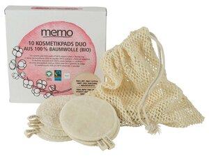 memo Bio-Baumwoll-Kosmetik Pads inkl. Wäschebeutel, 10 Stk. - memo