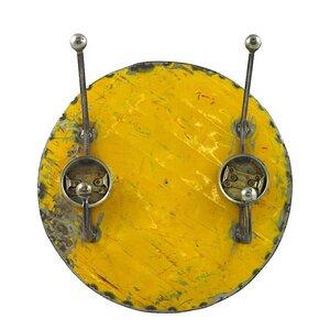 Upcycling Ölfass Garderobe - 2fach - Blau/Gelb/Rot - 30cm - Moogoo Creative Africa