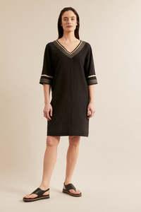 Kleid mit Bändern aus Bio-Baumwolle mit Leinen - LANIUS