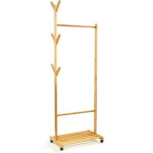 Fahrbarer Kleiderständer | Garderobenständer 100% Bambus 177x58x36cm - Bambuswald