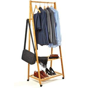 Fahrbarer Kleiderständer | Garderobenständer Bambus 165x70x45cm  - Bambuswald