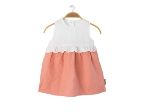 Bio Musselin Baumwolle Kleid Lollipop (coral/allover-druck) - Peter Jo Kids