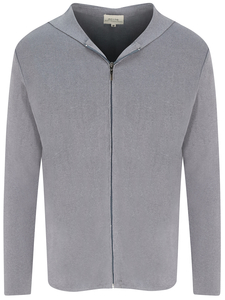 Zip Up Knit Hoodie grau stricken Herren - Will's Vegan Shop
