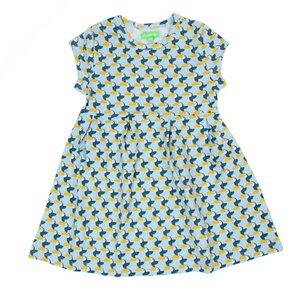 Mädchen Kurzarm Kleid toucans blau gelb - Lily Balou