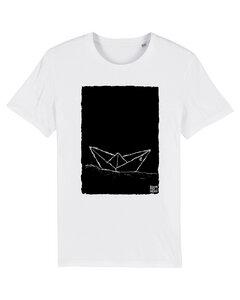 """Bio Faires Herren T-Shirt """"Paperboat 2.0"""" - white - ilovemixtapes"""