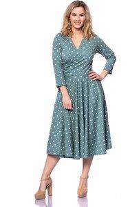 ADRIANA 50s Swing Kleid aus Bio Baumwolljersey in (Vintage Punkte auf mint)  - Ingoria