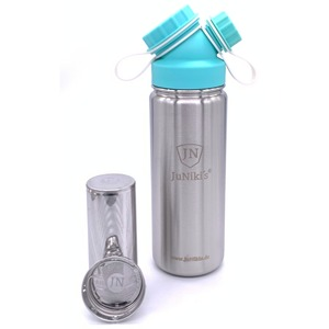 Frühlingsedition | JuNiki´s® Trinkflasche isoliert türkis + Teefilter - JN JuNiki's