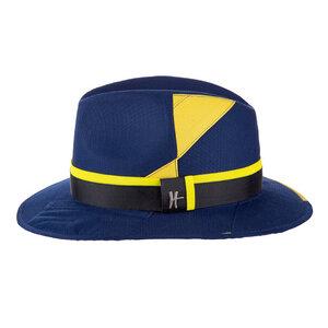 """Traveler-Hut """"Vagabund"""" aus Arbeitskleidung - dunkelblau-gelb - ReHats Berlin"""