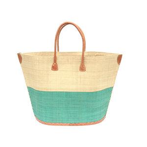 Strandtasche BATO Bicolor Natural / Uni Groß mit Leder Griffen - frosch und rabe