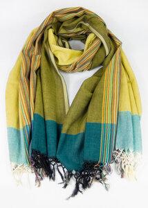 Handgewebtes Tuch aus Indien Gelb gestreift - Green Size