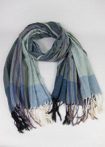 Handgewebtes Tuch aus Indien Grau-Blau gestreift - Green Size