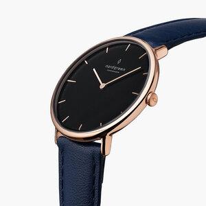 Armbanduhr NativeRoségold| Schwarzes Ziffernblatt - Lederarmband - Nordgreen Copenhagen