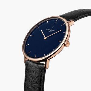 Armbanduhr NativeRoségold| Blaues Ziffernblatt - Lederarmband - Nordgreen Copenhagen