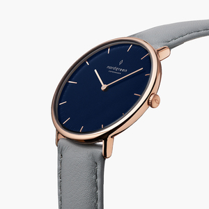 Armbanduhr Native Roségold | Blaues Ziffernblatt - Lederarmband - Nordgreen Copenhagen