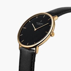 Armbanduhr NativeGold | Schwarzes Ziffernblatt - Lederarmband - Nordgreen Copenhagen