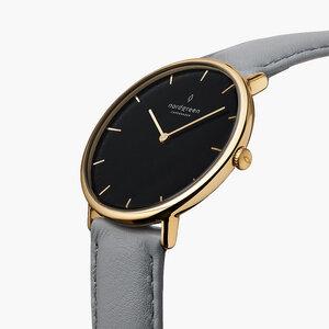 Armbanduhr Native Gold | Schwarzes Ziffernblatt - Lederarmband - Nordgreen Copenhagen